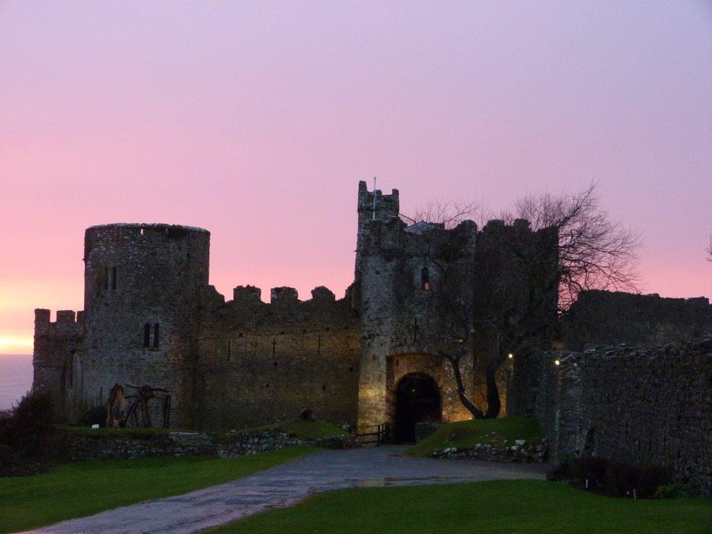 Manorbier Castle at night